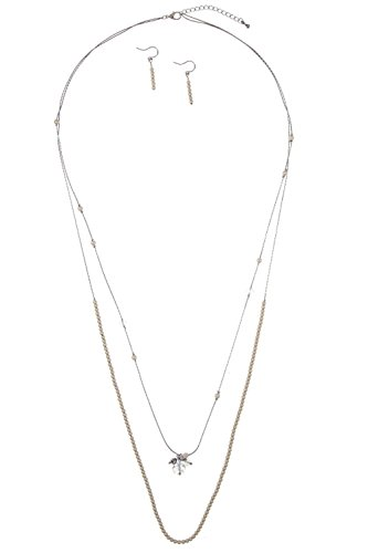 GlitZ Finery Double Layered Pear and Crystal Station Elongated Necklace Set (Rhodium)