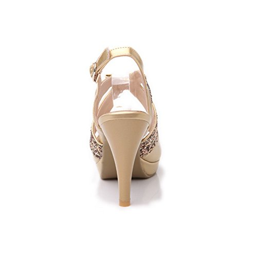Amoonyfashion Open Toe Tacco A Spillo Piattaforma A Spillo Materiale Morbido Sandali Solidi Con Fiocco In Oro