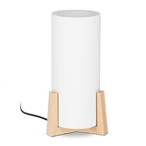 Relaxdays Lámpara de Mesa, Madera, Pantalla Redonda, Diseño Moderno, E27, Mesilla de Noche, Blanco/Marrón, 33 x 15 cm, 40 W, Crema