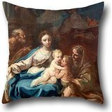 Cushion Cases Of Oil Painting Conca, Sebastiano - Holy Family With St Anne, The Baptist And Zacharias 16 X 16 Inch / 40 By 40 Cm,best Fit For Lounge,gril Friend,festival,sofa,monther,club Two Sides