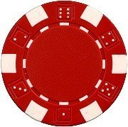 25 Clay Composite Dice Striped 11.5 gram Poker Chips, Red