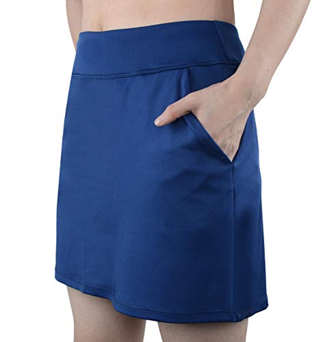 (Women Causal Travel Skirt with Pockets Athletic Skorts Hiking High Waist Active Navy 8)