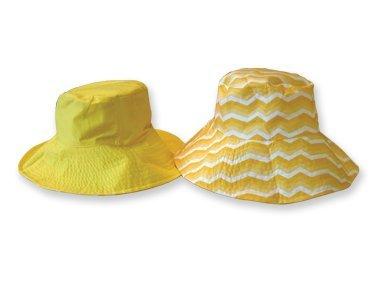 Sun Lily Fashion Flips Reversible Sun Hat with Tote - Womens (Sunshine Chevron) by Fashion Flips