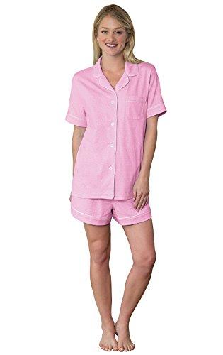 PajamaGram PJs Women Soft Cotton - Summer Pajamas for Women, Pink, M, 8-10