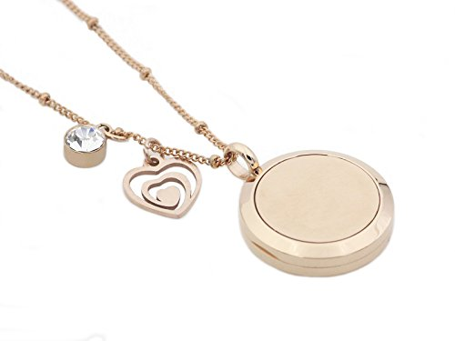 Rose Gold Tree of Life Essential Oil Diffuser Necklace -Aromatherapy Pendant-316L Stainless Steel Perfume Fragrance Jewelry for Women-20 Chain+8 Washable Felt Pads+2 Charms by Wonlee Winle (Image #2)