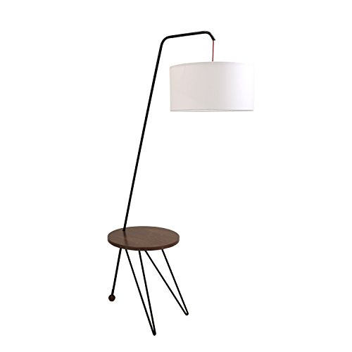 Modern Floor Lamp with Table in Walnut and White (Lumisource Modern Table)