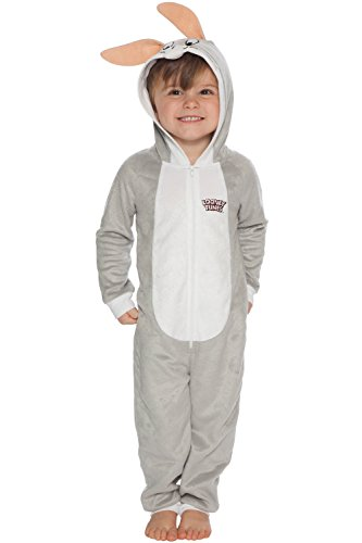 Looney Tunes Boys' Toddler Looney Toons Bugs Bunny One Piece Critter Pajama, Gray, -