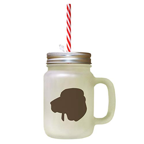 Brown Redbone Coonhound Silhouette Frosted Glass Mason Jar With Straw