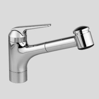 kwc 10 061 032 127 domo single lever pull out kitchen faucet