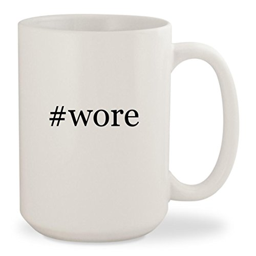 #wore - White Hashtag 15oz Ceramic Coffee Mug Cup (Spy Tie Leather)