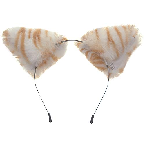 E-TING Cat Fox Long Fur Ears Anime Cosplay Headband Hairband Halloween Cosplay Party Costume (Cute Tiger)