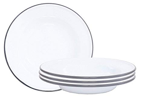 """Crow Canyon Home Enamelware Raised Salad Plate, 8"""", Vintage White with Grey Rim (Set of 4)"""