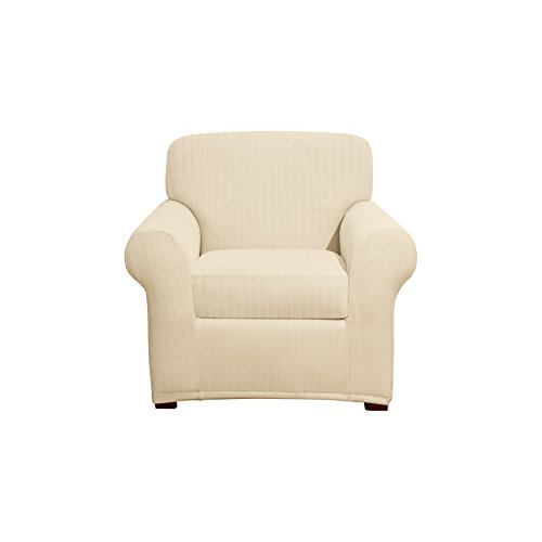 Sure Fit Stretch Pinstripe 2-Piece - Chair Slipcover  - Cream (SF39072)