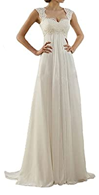 Lovelybride Cap Sleeve Lace Maternity Chiffon Wedding Dress Long for Beach Wedding