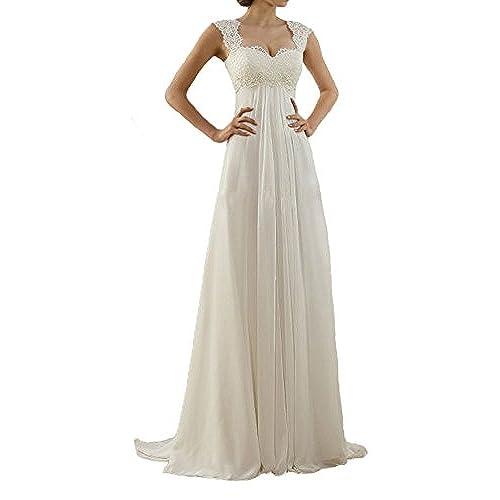 Lovelybride Cap Sleeve Lace Maternity Chiffon Wedding Dress Long For Beach 4 White
