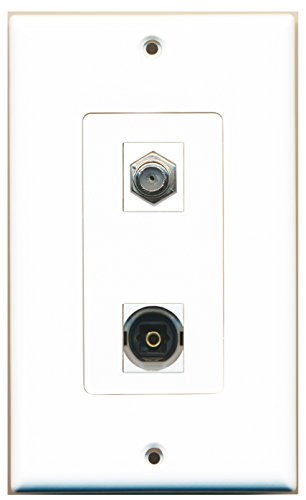 RiteAV - 1 Port Coax 1 Port Toslink Decorative Type Wall Plate by RiteAV