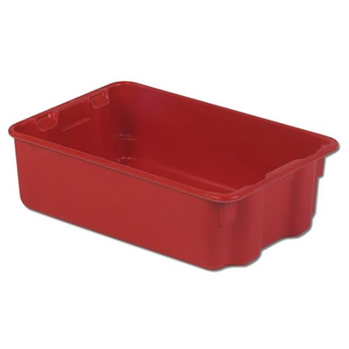(LEWISBins SN1812-6 Plexton Fiberglass Stack-N-Nest Container, 19-13/16 x 12-13/16 x 6, Red - Lot of)