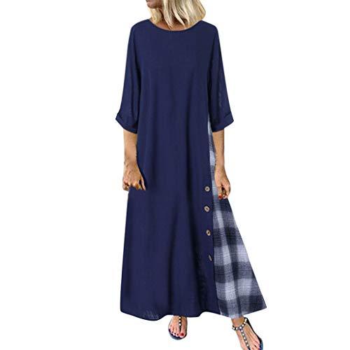 Plus Size Dresses for Women Boho Long Short Sleeve Crew Neck Summer Casual Beach Long Maxi Tank Dress with Pocket -