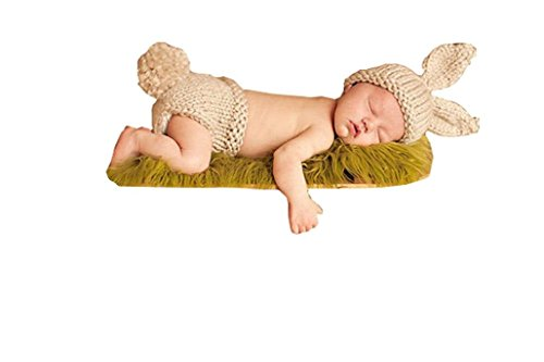 Ufraky Newborn Baby Handmade Crochet Knit Rabbit Hat Photo Props Costume Set