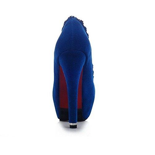 Chiuso Pompe Toe Tacchi Donne Solido Smerigliato Blu calzature Weipoot O1gqHwxq
