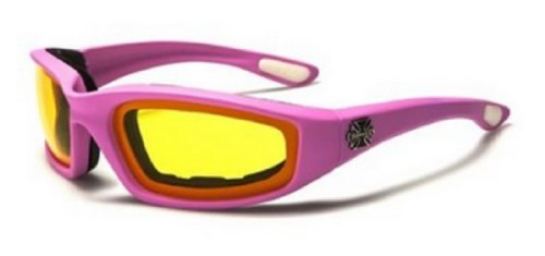 Choppers Womens Pink Padded Motorcycle Biker Glasses Goggles - Several Lens Colors Available! (Pink - Yellow (Pink Lady Accessories)