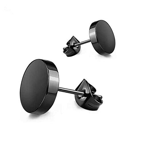 - 1pc Wild Fashion Round Black Titanium Stud Earrings Dumbbell Stainless Steel Earrings Korean Women Men Gift