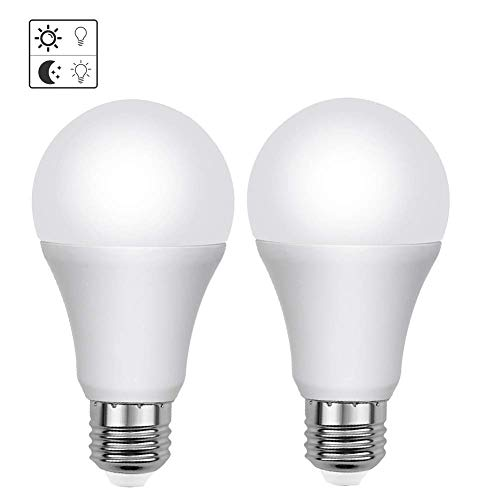 LED Light Sensor Bulbs, AveyLum 7W Automatic Dusk to Dawn Light Bulb Daylight E26/E27 Cool White Outdoor Indoor LED Night Lighting Bulbs For Porch Garage Basement Hallway Stairs, 2 Packs