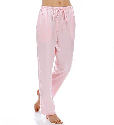 Silk Charmeuse Pants (Shadowline Charmeuse Sleep Pant (4500), Pink, 1X)