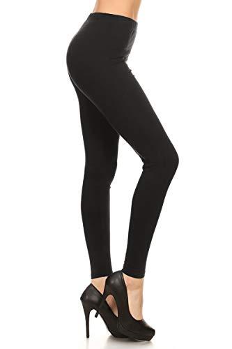 Leggings Depot Basic Solid Full Length Leggings (Small, Black)