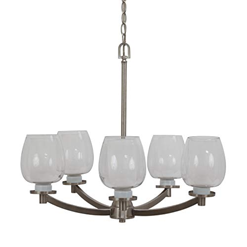 5 way Light Chandelier with Clear Glass Shade Bronze Decor Therapy