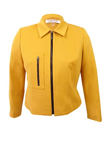 Kasper Women's Petite Ponte-Knit Zip-Front Blazer (12P, Marigold)