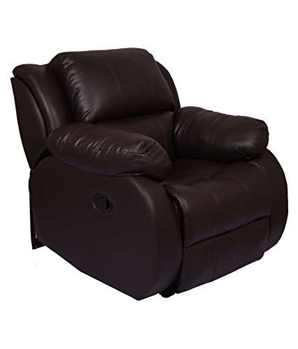 WellNap Manual Comfortable Recliner Chair Leatherette, Dark Brown