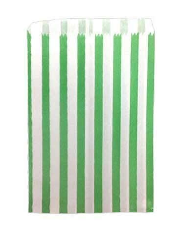 St@llion 500 Pcs Green Candy Bags 5×7 Inch Paper Stripped Stripe Bag For Party Sweets Candy Bags