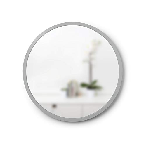 Umbra, Grey Hub Rubber Frame-18-Inch Round Mirror for Entryways, Bathrooms, Living Rooms -