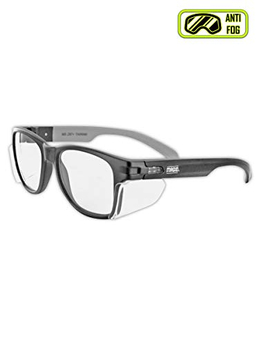 MAGID Y50BKAFC Iconic Y50 Design Series Safety Glasses with Side Shields | ANSI Z87+ Performance, Scratch & Fog Resistant, Comfortable & Stylish, Cloth Case Included, Clear Lens (1 ()