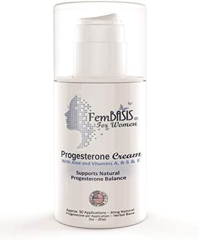 """FemBasis Supports Hormone Balance - Naturally! Safe, Effective, Most Trusted for Women's Health, Superior Chemical Free herbal """"Carrier"""" Formula, No Soy, Won't Clog Pores, USA"""