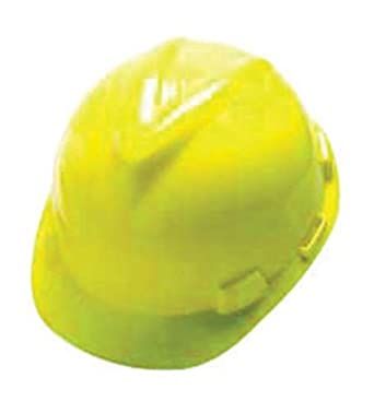 MSA Yellow V-Gard Class E Type I Polyethylene Slotted Hard Cap With Fas-Trac Suspension. Purchase of 3 Each