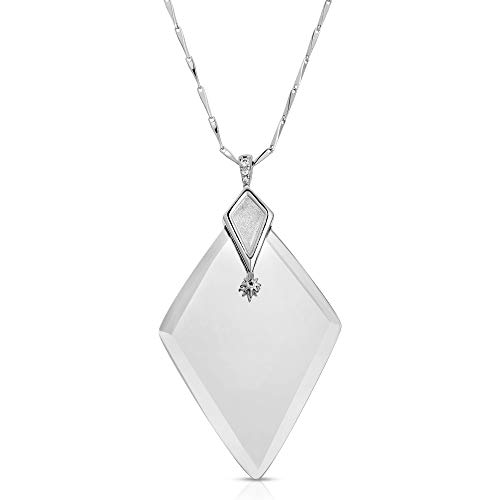 (Modern Monocle Necklace Magnifier Pendant Necklace-Valentina Silver)