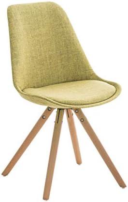 CLP Retrostuhl PEGLEG mit Stoffbezug I Gepolsterter Schalenstuhl mit Holzbeinen und Einer Sitzhöhe 46 cm, Farbe:grün, Gestell Farbe:Natura
