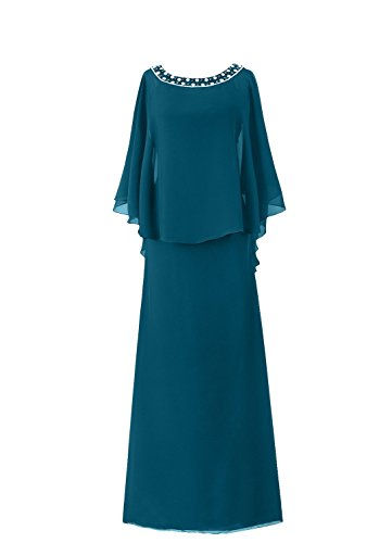 der Blau Frauen Mantel HWAN Braut Mutter Lange Flutter Sleeve Kleid zOOwqY