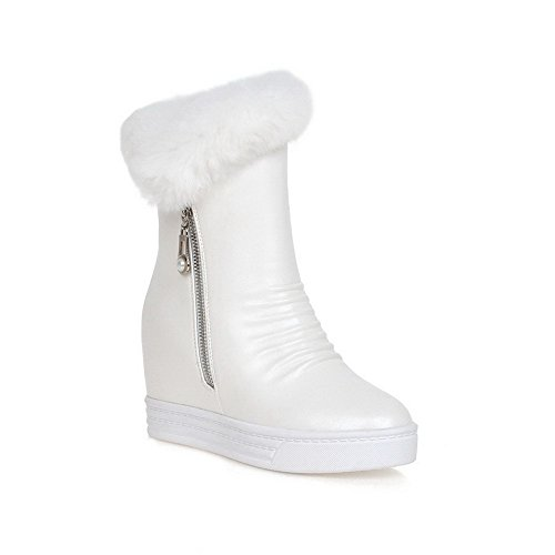 Allhqfashion Women's Round Closed Toe High-Heels Blend Materials Solid Mid-top Boots White rbbrBC