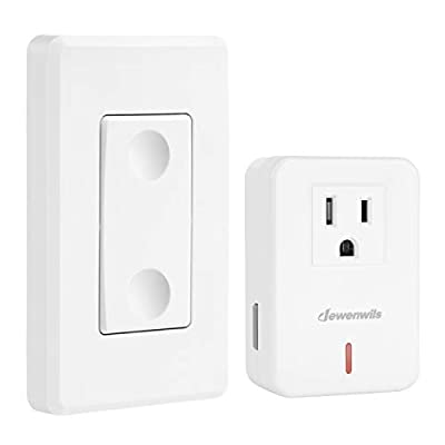 DEWENWILS Remote Control Outlet Wireless Wall Mounted Light Switch, Electrical Plug in On Off Power Switch for Lamp, No Wiring, Expandable, 100 Feet RF Range, ETL Listed