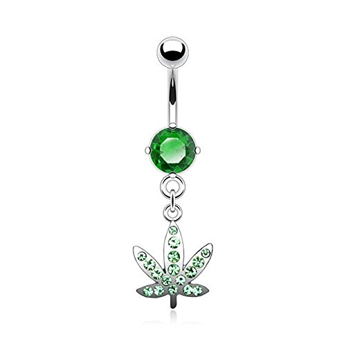 West Coast Jewelry {Green} 316L Steel Navel Belly Button Ring w/Gem Paved Pot Leaf Dangle-14 GA 3/8