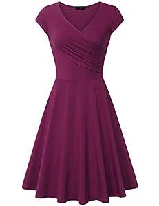 Lotusmile Casual Dress,Womens Elegant Dress A Line Cap Sleeve V Neck