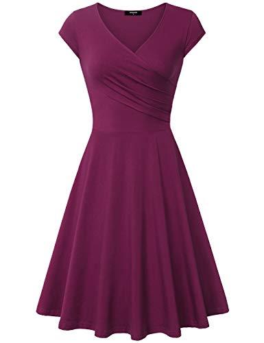 Elegant Dresses, Laksmi Womens Casual Dress A Line Cap Sleeve V Neck X-Large, Magenta (Pink Hot Suitcase)