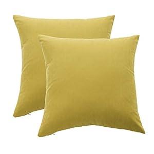 Mushanhun Suave Fundas para Cojines 45×45 cm (18×18 Pulgadas), Decoración Fundas de Almohada Cuadradas con Cremallera Invisible para Sala de Estar Dormitorio Sofá, Paquete de 2 – (Amarillo)