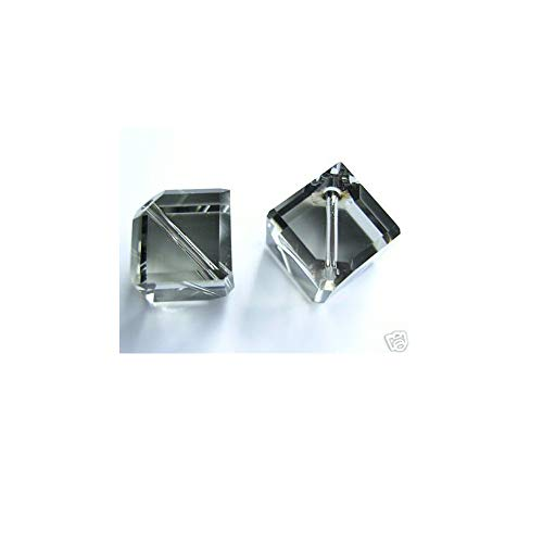 (Swarovski Article #5600 Crystal Diagonal Cube Beads 8mm Black Diamond Package of 10)