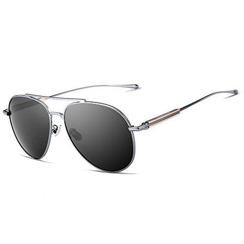 VEITHDIA 6696 Al-Mg Metal Frame Polarized Aviator Sunglasses 100% UV Protection (Gun Frame/Grey Lens, - Brand Name Sunglasses