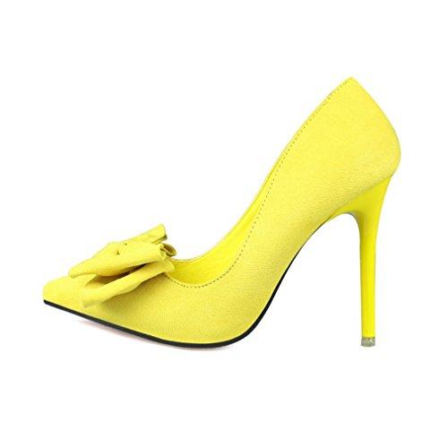 CYBLING Fashion Women Pointed Toe Dress Pumps for Wedding Stiletto Heels Bowtie Shoes Yellow IrlrIQW