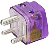 HIGH QUALITY AC POWER TRAVEL ADAPTER PLUG FOR INDIA and more / WITH DUAL PLUG-IN PORTS AND SURGE PROTECTION / GROUNDED